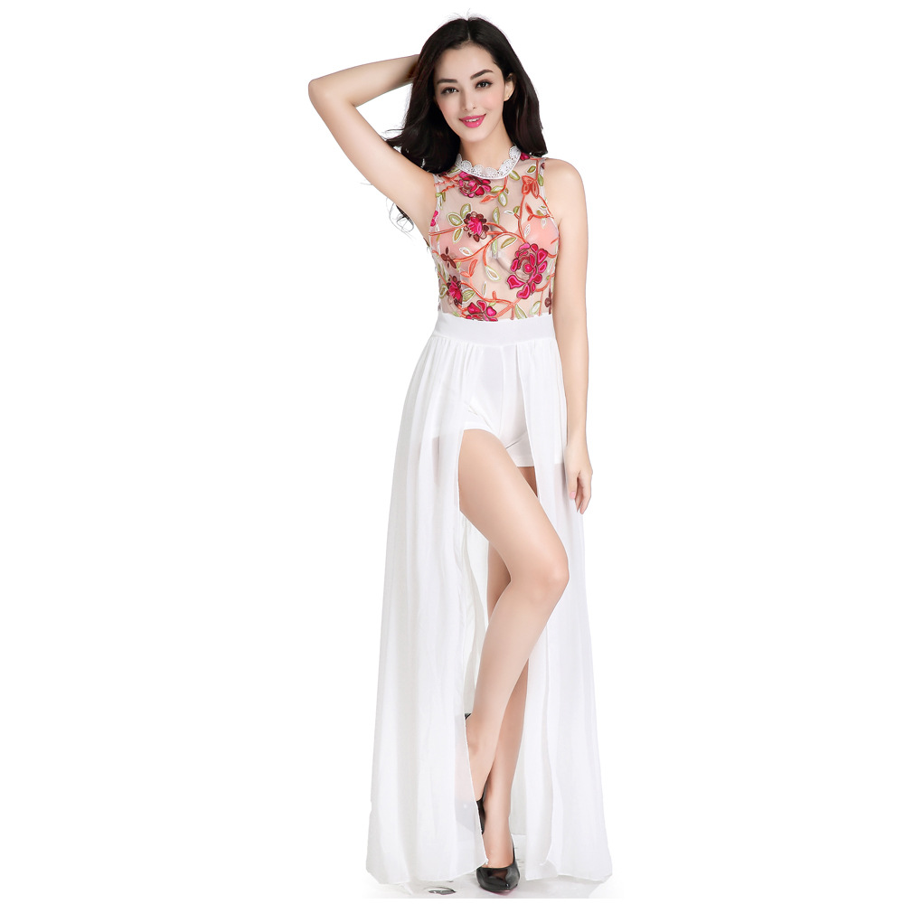 Londinas Ark Mağaza Playsuits Giyim High-End 2017 Bohemian Playsuits Ağır Nakış Net Hollow Out Bölünmüş Robe Kadın Playsuit