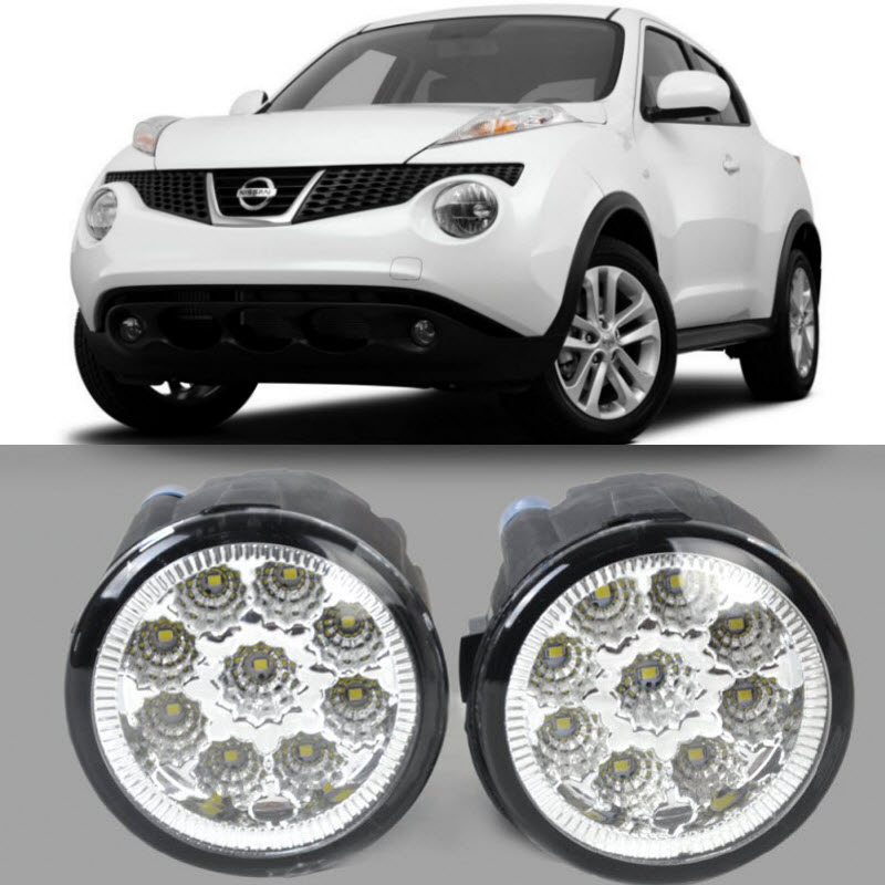 Araba Styling Için Nissan Juke 2011 2012 2013 2014 9-Pieces Led&39;ler sis Farları H11 H8 12 V 55 W Halojen LED Sis Far