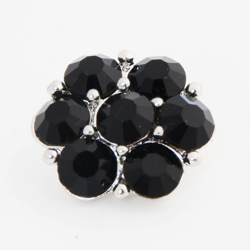 PAPAPRESS NEW 10pcs/lot Metal Snaps Jewelry 18mm Black Crystal Snap Buttons Fit Snap Leather Bracelet Jewelry Findings W367